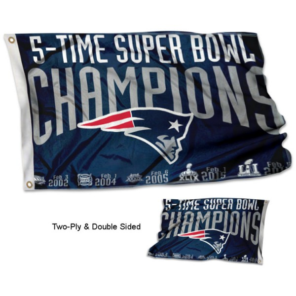 New England Patriots 5 Time Super Bowl Champions Flag measures 3'x5', is made of 2-ply double sided polyester with liner, has quadruple stitched sewing, two metal grommets, and has two sided team logos. Our New England Patriots 5 Time Super Bowl Champions Flag is officially licensed by the selected team and the NFL and is available with overnight express shipping.