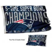 New England Patriots 5 Time Super Bowl Champions Flag