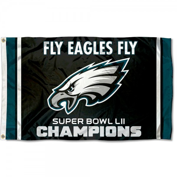 Philadelphia Eagles Fly Eagles Fly Super Bowl Champions Flag measures 3'x5', is made of 100% poly, has quadruple stitched sewing, two metal grommets, and has double sided Team and player logos. Our Philadelphia Eagles Fly Eagles Fly Super Bowl Champions Flag is officially licensed by the selected player and the NFL.