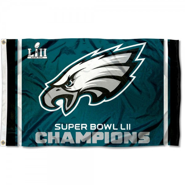 Philadelphia Eagles Super Bowl Champions Flag measures 3'x5', is made of 100% poly, has quadruple stitched sewing, two metal grommets, and has double sided Team and player logos. Our Philadelphia Eagles Super Bowl Champions Flag is officially licensed by the selected player and the NFL.