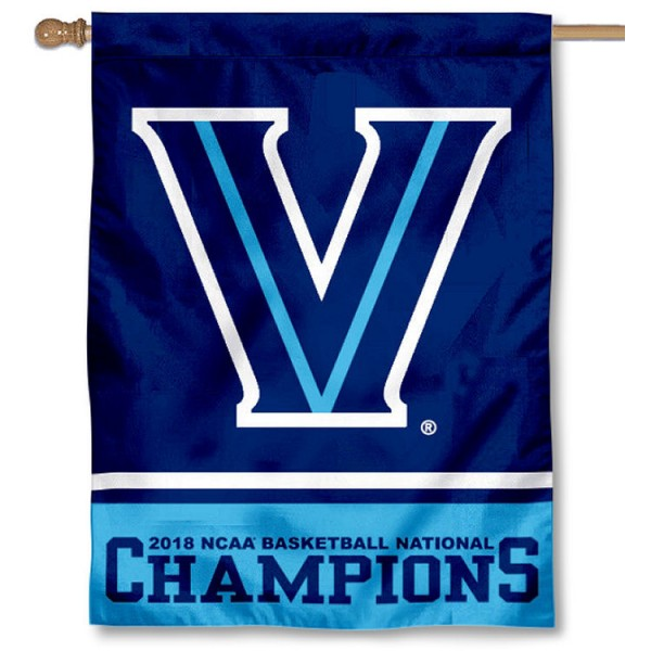 "Villanova University Men's Basketball 2018 National Champions Banner Flag is constructed of polyester material, is a vertical house flag, measures 30""x40"", offers screen printed athletic insignias, and has a top pole sleeve to hang vertically. Our Villanova University Men's Basketball 2018 National Champions Banner Flag is Officially Licensed by Villanova University and NCAA."
