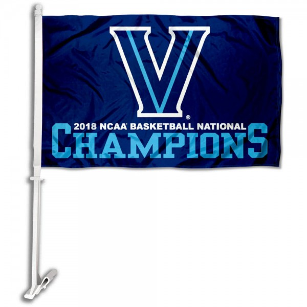 Villanova Wildcats 2018 National Champions Car Flag measures 12x15 inches, is constructed of sturdy 2 ply polyester, and has screen printed school logos which are readable and viewable correctly on both sides. Villanova Wildcats 2018 National Champions Car Flag is officially licensed by the NCAA and selected university.