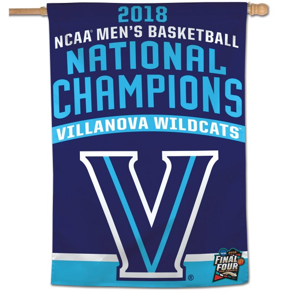Villanova Wildcats 2018 National Championship House Flag is constructed of polyester material, is a vertical house flag, measures 28x40 inches, offers screen printed NCAA team insignias, and has a top pole sleeve to hang vertically. Our Villanova Wildcats 2018 National Championship House Flag is officially licensed by the selected university and NCAA.