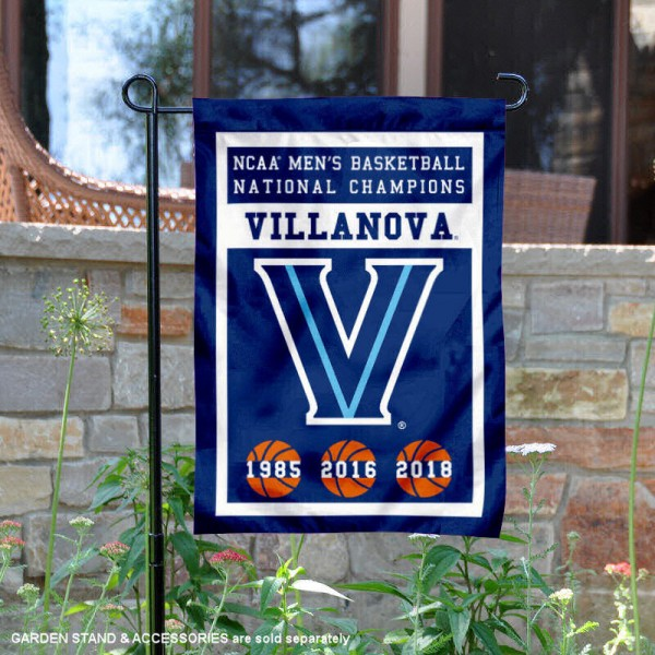Villanova Wildcats 3 Time Basketball National Champions Garden Flag is 13x18 inches in size, is made of 2-layer polyester, screen printed university athletic logos and lettering, and is readable and viewable correctly on both sides. Available same day shipping, our Villanova Wildcats 3 Time Basketball National Champions Garden Flag is officially licensed and approved by the university and the NCAA.
