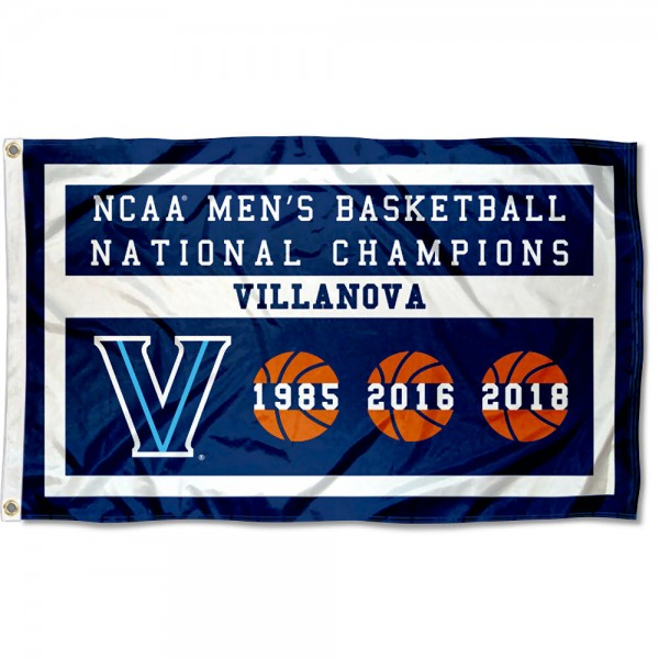 Villanova Wildcats 3 Time Basketball National Champions Flag measures 3x5 feet, is made of 100% polyester, offers quadruple stitched flyends, has two metal grommets, and offers screen printed NCAA team logos and insignias. Our Villanova Wildcats 3 Time Basketball National Champions Flag is officially licensed by the selected university and NCAA.