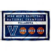 Villanova Wildcats 3 Time Basketball National Champions Flag