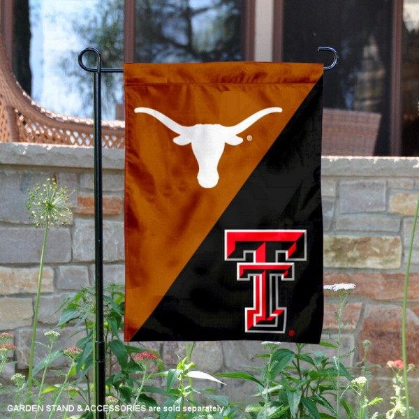 Texas vs. Texas Tech House Divided Garden Flag is 13x18 inches in size, is made of polyester, is double-sided, and offers screen printed university school logos. The Texas vs. Texas Tech House Divided Garden Flag is approved by the NCAA and the selected university.