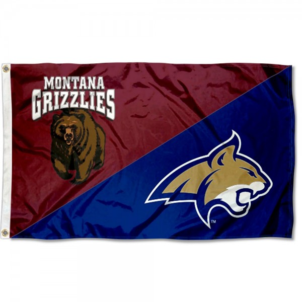 Montana vs. Montana State House Divided 3x5 Flag sizes at 3x5 feet, is made of 100% polyester, has quadruple-stitched fly ends, and the university logos are screen printed into the Montana vs. Montana State House Divided 3x5 Flag. The Montana vs. Montana State House Divided 3x5 Flag is approved by the NCAA and the selected universities.