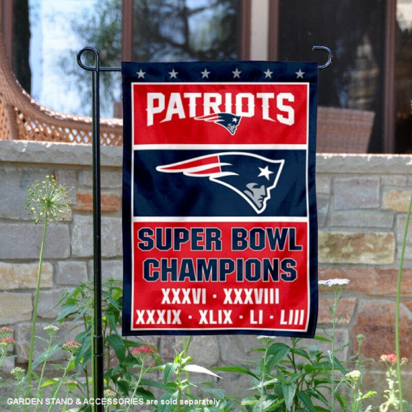 New England Patriots 6 Time Super Bowl Champions Garden Flag is 12x18 inches in size, is made of thick 1-ply 300D triple spun polyester, and has two sided screen printed logos and lettering. Available with Express Next Day Ship, our New England Patriots 6 Time Super Bowl Champions Garden Flag is NFL Officially Licensed and is double sided.