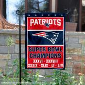 New England Patriots 6 Time Super Bowl Champions Garden Flag