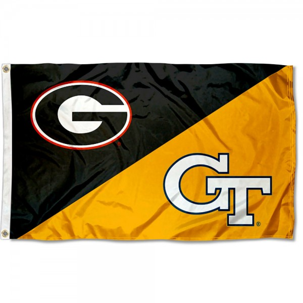 Georgia vs. Georgia Tech House Divided 3x5 Flag sizes at 3x5 feet, is made of 100% polyester, has quadruple-stitched fly ends, and the university logos are screen printed into the Georgia vs. Georgia Tech House Divided 3x5 Flag. The Georgia vs. Georgia Tech House Divided 3x5 Flag is approved by the NCAA and the selected universities.