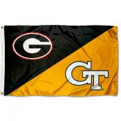 Georgia vs. Georgia Tech House Divided 3x5 Flag