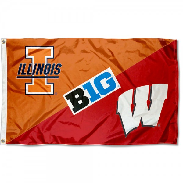 Illinois vs. Wisconsin House Divided 3x5 Flag sizes at 3x5 feet, is made of 100% polyester, has quadruple-stitched fly ends, and the university logos are screen printed into the Illinois vs. Wisconsin House Divided 3x5 Flag. The Illinois vs. Wisconsin House Divided 3x5 Flag is approved by the NCAA and the selected universities.