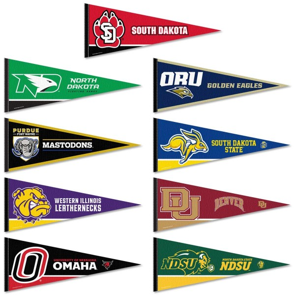 Summit League Pennants consists of all The Summit League school pennants and measure 12x30 inches. All 9 Summit League teams are included and the Summit League Pennants are officially licensed by the NCAA and selected conference schools.