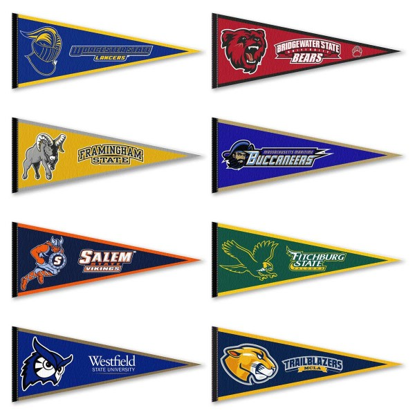 Massachusetts State Collegiate Athletic Pennants consists of all The Massachusetts State Collegiate Athletic school pennants and measure 12x30 inches. All 8 Massachusetts State Collegiate Athletic teams are included and the Massachusetts State Collegiate Athletic Pennants are officially licensed by the NCAA and selected conference schools.