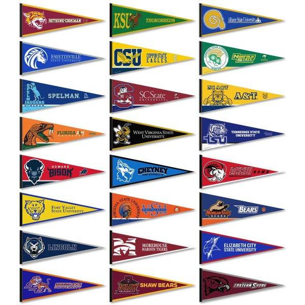 Historical Black HBCU 24 College Pennants consists of twenty four randomly selected HBCU pennants and measure 12x30 inches. All HBCU pennants are are approved by the selected HBCU college or university.