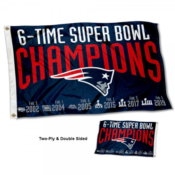 New England Patriots 6 Time Super Bowl Champions Double Sided Flag measures 3'x5', is made of 2-ply double sided polyester with liner, has quadruple stitched sewing, two metal grommets, and has two sided team logos. Our New England Patriots 6 Time Super Bowl Champions Double Sided Flag is officially licensed by the selected team and the NFL and is available with overnight express shipping.
