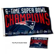 New England Patriots 6 Time Super Bowl Champions Double Sided Flag