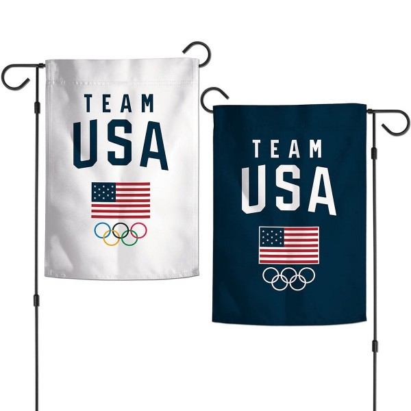 Team USA Olympic 2 Sided Garden Flag is 12x18 inches in size, is made of thick 1-ply 300D triple spun polyester, and has two sided screen printed logos and lettering. Available with Express Next Day Ship, our Team USA Olympic 2 Sided Garden Flag is Team USA Genuine Merchandise and is double sided.