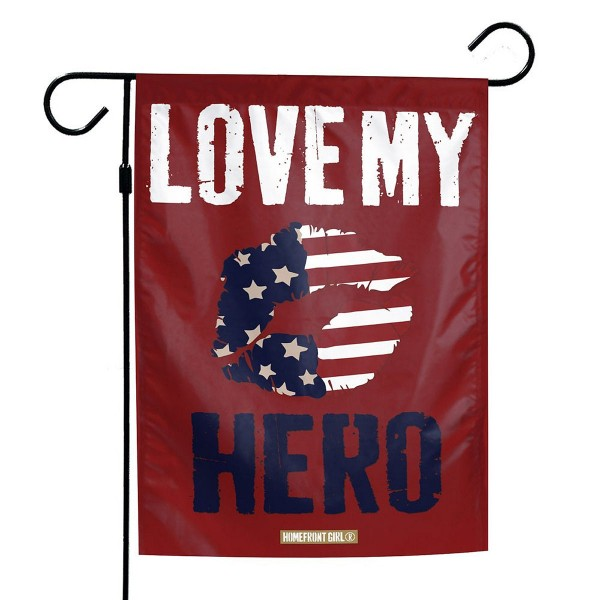 Love My Hero Garden Flag is 13x18 inches in size, is made of 1-layer 300d polyester, screen printed logos and lettering, and is viewable on both sides. Available same day shipping, our Love My Hero Garden Flag is a great addition to your decorative garden flag selections.