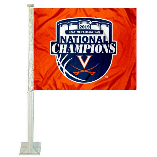 Virginia Cavaliers 2019 Final Four National Champions Car Flag measures 12x15 inches, is constructed of sturdy 2 ply polyester, and has screen printed school logos which are readable and viewable correctly on both sides. Virginia Cavaliers 2019 Final Four National Champions Car Flag is officially licensed by the NCAA and selected university.