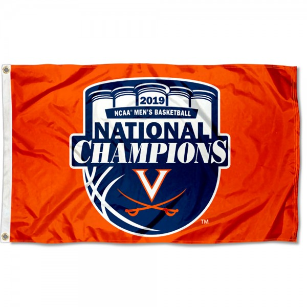 Virginia Cavaliers Orange 2019 Basketball National Champions Flag measures 3x5 feet, is made of 100% polyester, offers quadruple stitched flyends, has two metal grommets, and offers screen printed NCAA team logos and insignias. Our Virginia Cavaliers Orange 2019 Basketball National Champions Flag is officially licensed by the selected university and NCAA.