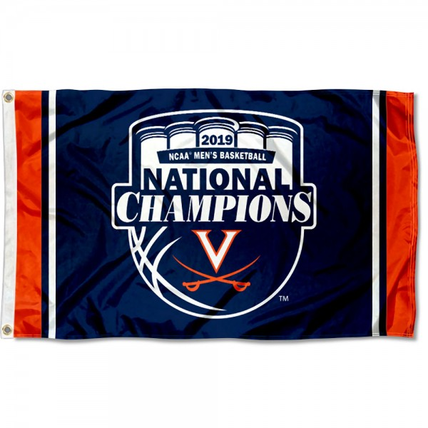 Virginia Cavaliers 2019 Basketball National Champions Official Logo Flag measures 3x5 feet, is made of 100% polyester, offers quadruple stitched flyends, has two metal grommets, and offers screen printed NCAA team logos and insignias. Our Virginia Cavaliers 2019 Basketball National Champions Official Logo Flag is officially licensed by the selected university and NCAA.