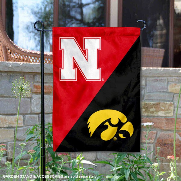 Nebraska vs. Iowa House Divided Garden Flag is 13x18 inches in size, is made of polyester, is double-sided, and offers screen printed university school logos. The Nebraska vs. Iowa House Divided Garden Flag is approved by the NCAA and the selected university.