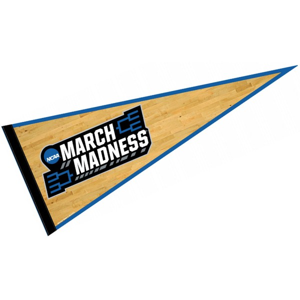 Full Size Official Pennant for March Madness is 12x30 inches in size, is made of a felt blend, has a sewn sleeve for insertion of a pennant stick, and Licensed Team screen printed Logos. These Full Size Official Pennant for March Madness are Genuine Licensed Merchandise and approved by the selected teams.