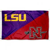 LSU Tigers vs Nicholls State Colonels House Divided 3x5 Flag