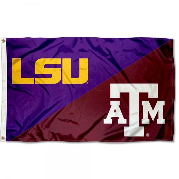 LSU Tigers vs Texas AM House Divided 3x5 Flag sizes at 3x5 feet, is made of 100% polyester, has quadruple-stitched fly ends, and the university logos are screen printed into the LSU Tigers vs Texas AM House Divided 3x5 Flag. The LSU Tigers vs Texas AM House Divided 3x5 Flag is approved by the NCAA and the selected universities.