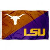 Texas vs LSU Tigers House Divided 3x5 Flag
