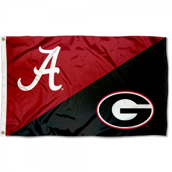 Alabama vs Georgia House Divided 3x5 Flag sizes at 3x5 feet, is made of 100% polyester, has quadruple-stitched fly ends, and the university logos are screen printed into the Alabama vs Georgia House Divided 3x5 Flag. The Alabama vs Georgia House Divided 3x5 Flag is approved by the NCAA and the selected universities.