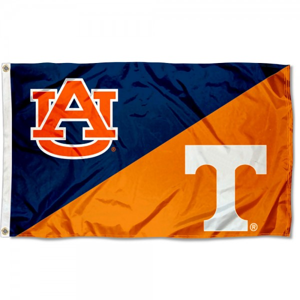 Auburn vs Tennessee House Divided 3x5 Flag sizes at 3x5 feet, is made of 100% polyester, has quadruple-stitched fly ends, and the university logos are screen printed into the Auburn vs Tennessee House Divided 3x5 Flag. The Auburn vs Tennessee House Divided 3x5 Flag is approved by the NCAA and the selected universities.