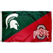 Michigan State vs Ohio State House Divided 3x5 Flag