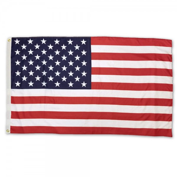 USA American Flag 3x5 Printed Flag measures 3'x5', is made of 100% poly, has quadruple stitched sewing, two metal grommets, and has double sided USA American logos.