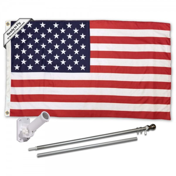 American USA Flag and Flag Pole Kit measures 3'x5', is made of 100% poly, has quadruple stitched sewing, two metal grommets, and has double sided USA American logos.