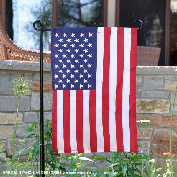 American USA Garden Flag is 12x18 inches in size, is made of 1-layer polyester, screen printed logos and lettering, and is viewable on both sides. Available same day shipping, our American USA Garden Flag is a great addition to your decorative garden flag selections.