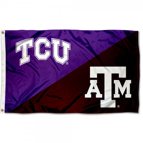 Texas Christian vs Texas A&M House Divided 3x5 Flag sizes at 3x5 feet, is made of 100% polyester, has quadruple-stitched fly ends, and the university logos are screen printed into the Texas Christian vs Texas A&M House Divided 3x5 Flag. The Texas Christian vs Texas A&M House Divided 3x5 Flag is approved by the NCAA and the selected universities.