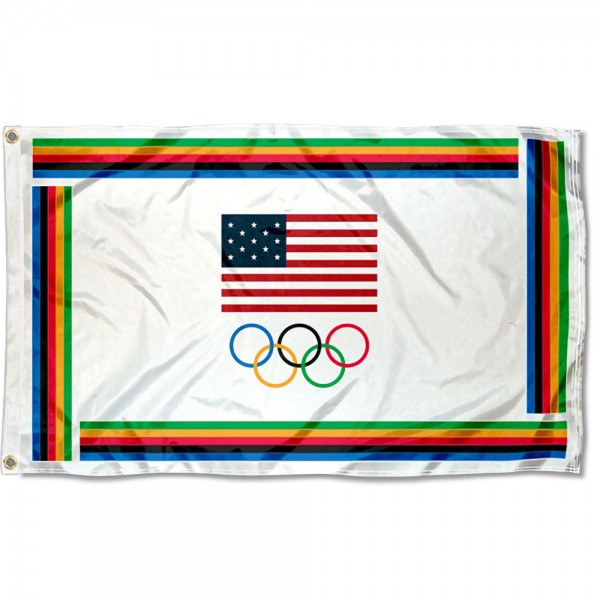 USA Olympic Flag measures 3'x5', is made of 100% poly, has quadruple stitched sewing, two metal grommets, and has double sided USA Olympic logos.