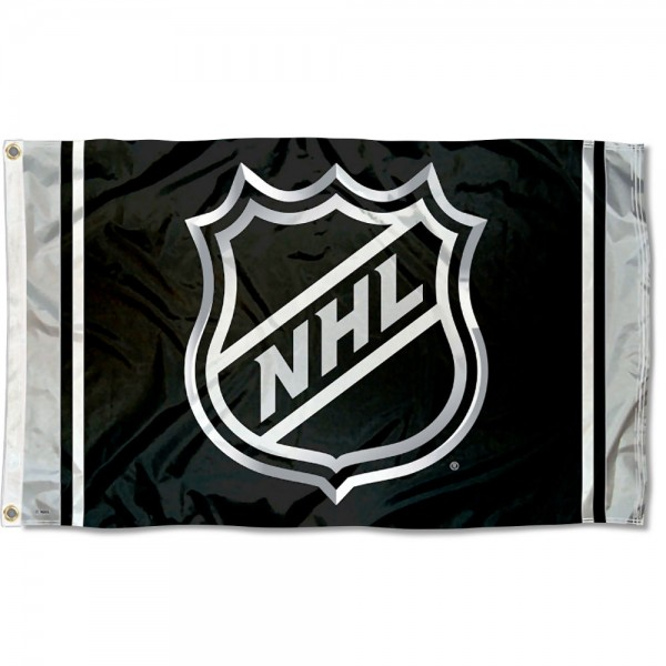 NHL Flag measures 3'x5', is made of 100% poly, has quadruple stitched sewing, two metal grommets, and has double sided logos. Our NHL Flag is officially licensed by the NHL.
