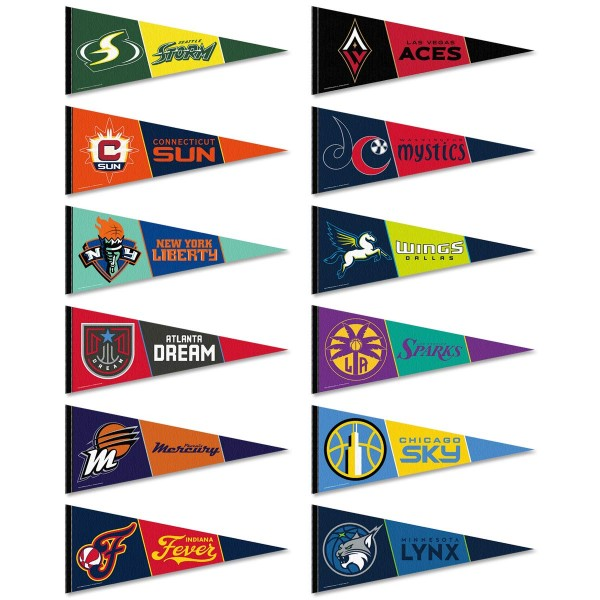 WNBA Pennant Set consists of all WNBA League pennants and measure 12x30 inches. All 12 WNBA teams are included and the WNBA Pennant Set is officially licensed by the WNBA and selected teams.