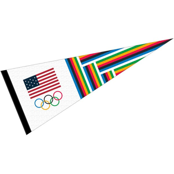 USA Olympic Rings Team Full Size Pennant is 12x30 inches in size, made of 1-sided felt blends, screen printed stars and stripes logos, and provides a side sleeve to insert a pennant stick if desired. Our USA Olympic Rings Team Full Size Pennant is offered with UPS Next Day Express Shipping if needed and is a great buy.