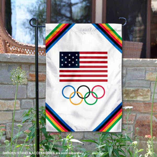USA Olympics Rings Garden Flag is 12x18 inches in size, is made of 1-layer 150d polyester, screen printed logos and lettering, and is viewable on both sides. Available same day shipping, our USA Olympics Rings Garden Flag is a great addition to your decorative garden flag selections.