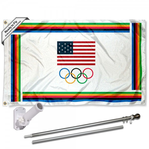 USA Olympic Flag and Flag Pole Kit measures 3'x5', is made of 100% poly, has quadruple stitched sewing, two metal grommets, and has double sided USA Olympic logos.