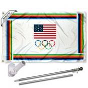 USA Olympic Flag and Flag Pole Kit