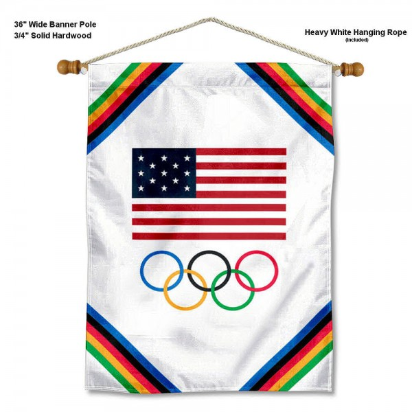 """USA Olympic Wall Banner is constructed of polyester material, measures a large 28""""x40"""", offers screen printed athletic logos, and includes a sturdy 3/4"""" diameter and 36"""" wide banner pole and hanging cord. Our USA Olympic Wall Banner is Officially Licensed."""
