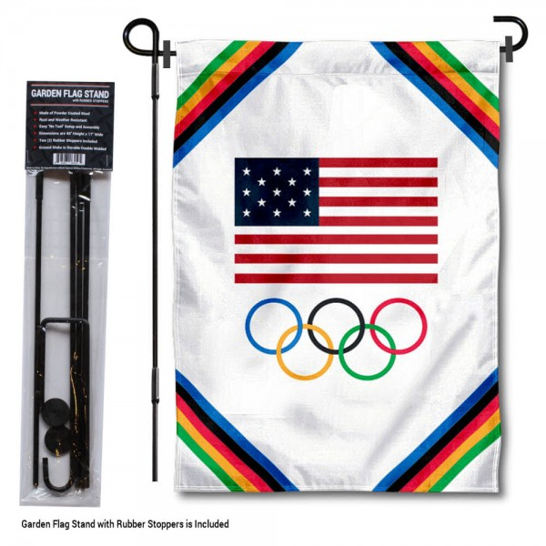 """Olympic Team USA Garden Flag and Pole Stand kit includes our 12""""x18"""" garden banner which is made and assembled in the USA, is made of 1 ply poly, and has screen printed licensed logos. Also, a 40""""x17"""" inch garden flag stand is included so your Olympic Team USA Garden Flag and Pole Stand is ready to be displayed with no tools needed for setup. Fast Overnight Shipping is offered and the flag is Officially Licensed and Approved by the selected team."""