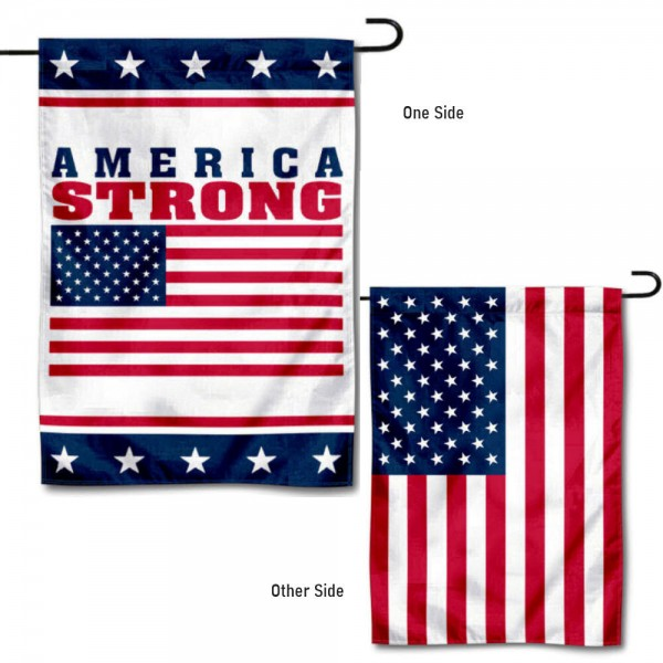 America Strong USA Garden Flag is 13x18 inches in size, is made of 1-layer 300d polyester, screen printed logos and lettering, and is viewable on both sides. Available same day shipping, our America Strong USA Garden Flag is a great addition to your decorative garden flag selections.