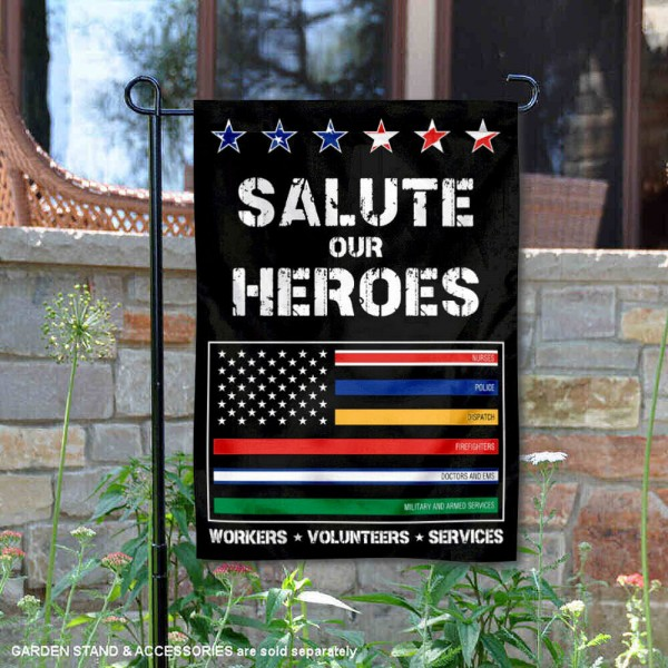 Salute Our Workers and Services Garden Flag is 13x18 inches in size, is made of 1-layer 300d polyester, screen printed logos and lettering, and is viewable on both sides. Available same day shipping, our Salute Our Workers and Services Garden Flag is a great addition to your decorative garden flag selections.
